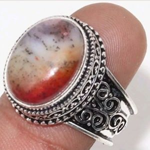 New Dendritic Opal Antique Design Silver Ring.